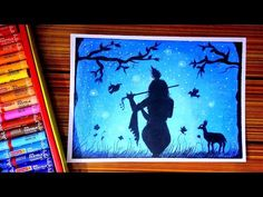 Scenery drawing of krishna lord night shadow with oil pastel Crayon Painting, Shadow Painting, Shadow Drawing, Crayon Art, Krishna Drawing, Krishna Painting, Oil Pastel Drawings, Art Drawings, Oil Pastel Techniques