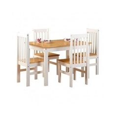 Dining-Table-Set-Chairs-Kitchen-White-Wooden-5-Piece-Pine-Wood-Furniture-Small