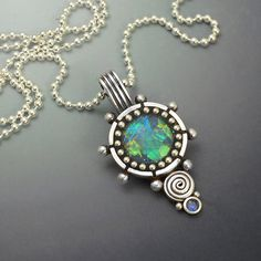 Sterling silver pendant necklace with blue green iridescent faux opal inlay polymer clay sterling bead ball chain lovely blue sapphire