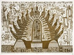 Bruce Onobrakpeya (Nigerian, b. 1932), Last Supper III. Lino engraving on rice paper, 147 x 195 cm. Edition 1/15.