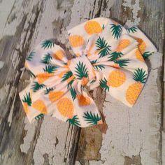 Pineapple Loving floppy bow messy bow head wrap by CarolandGrace