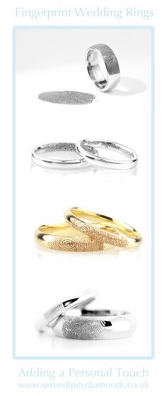 A compilation of bespoke fingerprint wedding rings created for clients at Serendipity Diamonds. Our post shows a gallery of images and explains a simple process for arranging fingerprints inside the surface of our outside wedding rings.