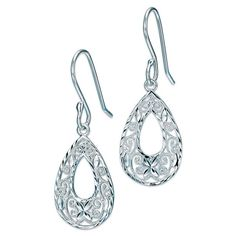 """Make a sterling silver statement! Sterling silver open teardrop shaped earrings with an intricate filigree design that makes an elegant statement. · Earrings: Pierced, approx. 3/4"""" x 1/2"""" with Fishook clutch · Use sterling silver jewelry cleaner · Imported"""
