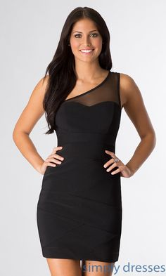 Dress, Short Black One Shoulder Dress - Simply Dresses