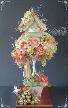 I would find a tea cup for this or use another type of bottom (sugar bowl or creamer bowl?) I really like the topiary style of this! Clay Flowers, Fabric Flowers, Paper Flowers, Topiary Centerpieces, Centrepieces, Chocolate Flowers Bouquet, Edible Crafts, Shabby Chic Crafts, Candy Bouquet