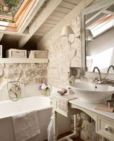 Instagram Shabby Chic Kitchen, Shabby Chic Homes, Shabby Chic Style, Shabby Chic Decor, Kitchen Rustic, Attic Bathroom, Bathroom Interior, Stone Bathroom, Bathroom Ideas