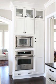 Kitchen Redo, Home Decor Kitchen, New Kitchen, Kitchen Remodel, Kitchen Design, Kitchen Layout, Kitchen Ideas, Wall Oven Microwave Combo, Hidden Microwave