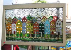 Glass on glass - old window recycled Hope to start my vintage window/mosaic hobby soon!Mosaic houses Paint or tissue paper instead of mosaic on a windowstained glass art - like this but jellybean row an idea for my window paneMosaic houses- I love th Mosaic Crafts, Mosaic Projects, Stained Glass Projects, Stained Glass Patterns, Mosaic Patterns, Stained Glass Art, Stained Glass Windows, Mosaic Glass, Mosaic Tiles