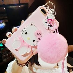 Горячее предложение For iPhone 7 plus /X 8 6 case pink Hello kitty For samsung galaxy plus edge case cartoon cat mirror cover +rope Iphone 8 Plus, Iphone 5s, Coque Iphone, Iphone Cases, Cute Cases, 5s Cases, Hello Kitty Merchandise, Girly Phone Cases, Phone Covers
