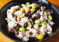 Otakarameshi: rice cooked with five kinds of beans (soybeans, black soybeans, green soybeans, adzuki beans and pinto beans), chestnuts and ginkgos