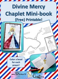 Print this easy foldable minibook for your kids to follow along with the Divine Mercy Chaplet.