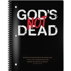 """Graphics and truth from the popular movie God's Not Dead Journal, for classroom and student use. God's Not Dead with Scripture verse quote.Black spiral notebook; 90 wide-ruled sheets, 8"""" x 10.5."""""""