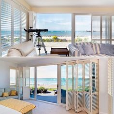 Check out this shutter job we installed in Skerries Co. The shutters are on a sliding track and can be stacked to one side for full access to the sliding door and to allow full view to the outside. Stacking Doors, One Sided, Coastal Living, Sliding Doors, Shutters, Dublin, Track, Windows, Canning