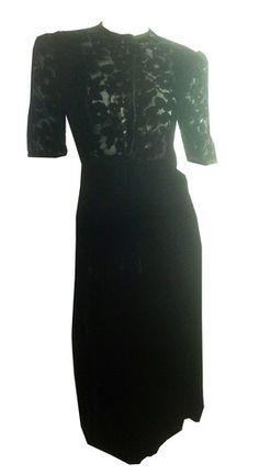 Ebony Black Silk Velvet Dress w/ Floral Burnout Sheer Bodice circa 1940s