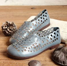 Handmade Leather Shoes with Hollow  Out Design for WomenOxford Flat Sandals Flat Shoes Casual Summer Shoes by HerHis