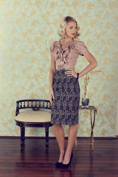 Love the texture of this pencil skirt with the satin ruffle blouse.  Another navy and taupe combo. I will have to do this.