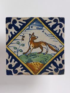 Dutch fox tile ~ Netherlands ~ ~ Tin-glaze earthenware, painted in colors ~ Beginning in the century, tilework became a typical feature of the Dutch home. Delft Tiles, Blue Tiles, Mosaic Tiles, Antique Tiles, Vintage Tile, Art Fund, Mosaic Animals, V & A Museum, Fox Art
