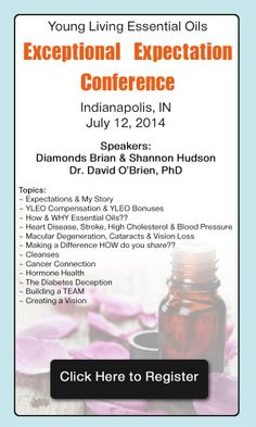 Young Living Diamonds Brian and Shannon Hudson and Dr. David O'Brien are coming to Indianapolis, IN. Shannon will be teaching on Young Living's Wellness, Purpose  Abundance!  Dr. David O'Brien will be teaching Rx Drugs or Genuine Essential Oils. $35 for YLEO members, guests free.  Saturday, July 12, 2014