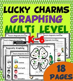 St Patricks Day Graphing 18 Pages Teaching With A Spice  St Patrick's Lucky Charm Graphing is designed for multi-level K-6! It is easy enough for Kindergarten and great enough for higher grades with fractions included. 18 PAGES TOTAL PACKET. A great project to do right after Dr Seuss Week or Read Across  Subjects:  English Language Arts,Math,St. Patrick's Day