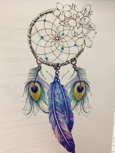 Like The Dream Catcher Part Def Peacock Feathers Idk About The Flowers - Tattoo Ideas Top Picks Tatuajes Tattoos, Bild Tattoos, Love Tattoos, Beautiful Tattoos, New Tattoos, Tatoos, Tattoo Plume, Accessoires Hippie, Pfau Tattoo