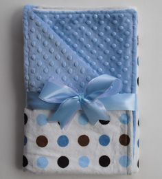 Minky baby blanket in Blue Posh Dots - by The Sleeping Babe
