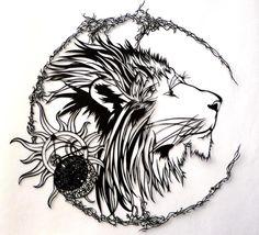 Tète de lion , papercut. Très fin.