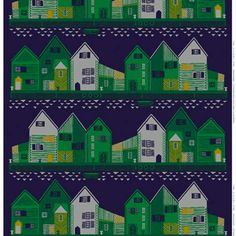 Vanhakaupunki fabric from Marimekko comes with a beautiful pattern of a city with fancy houses in the winter darkness. The Marimekko fabric comes In a green and a red color. Textile Patterns, Textile Design, Print Patterns, Fabric Design, Marimekko Fabric, Scandinavia Design, Fancy Houses, Rock Houses, Textile Company
