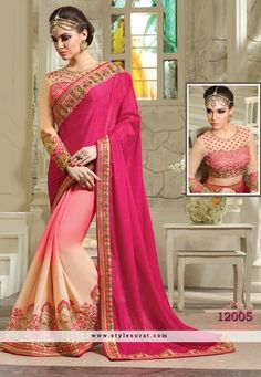 Adorable Rani Pink And Peach Color Party Wear Saree