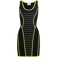 Milly Camille neon-striped stretch-knit dress ($140) ❤ liked on Polyvore featuring dresses, vestidos, short dresses, black, stripe dress, black striped dress, black stripe dress and stretch knit dress