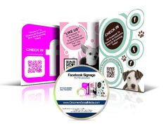 "Cute customizable Groomers Facebook ""like"" & ""check in"" signs for grooming shop"