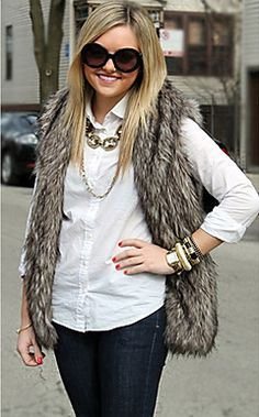 Mouwloze kraag Faux Fur Party / Casual Vest – EUR € 24.74