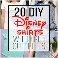 disney crafts Taking a trip to Disney? Use your Silhouette or Cricut to make custom shirts with this list of DIY Disney Shirts with free cut files. Shirts Bff, Disney Shirts For Family, Shirts For Teens, Disney Diy Shirts, Funny Shirts, Disney Clothes, Disney Outfits, Blue Merle, Diy For Girls