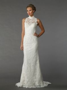 Illusion Sheath Wedding Dress  with Natural Waist in Embroidery. Bridal Gown Style Number:33219288