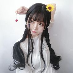 Big wave long roll wig Big wave long roll wig Soft, shiny, silky and well-groomed hair is our dream. However, as a result of our resear. Korean Hairstyle Long, Short Hair Updo, Short Hair Styles, Pigtail Hairstyles, Cute Hairstyles, Braided Hairstyles, Cute Korean Girl, Asian Girl, Kawaii Wigs