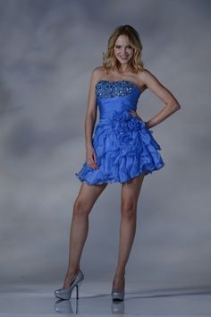 Ruffles Flowers Mini Prom Dress Strapless Gems Flirty Short Formal Gown Fun