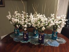 Nautical Centerpieces for a boy baby shower. Pretty and easy to make.