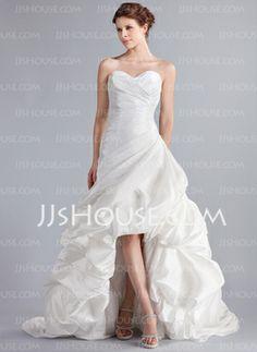 A-Line/Princess Sweetheart Asymmetrical Taffeta Wedding Dress With Ruffle