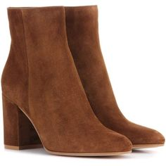 Gianvito Rossi Exclusive to mytheresa.com – Rolling 85 Suede Ankle... (44,120 PHP) ❤ liked on Polyvore featuring shoes, boots, ankle booties, brown, gianvito rossi booties, brown ankle booties, brown ankle boots, brown booties and bootie boots