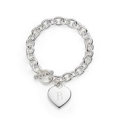 Silver Plated Heart Link Bracelet With Box