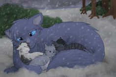 Mommy, It's Cold...(Bluefur,Stonekit,Mistykit,And Mosskit) by CascadingSerenity