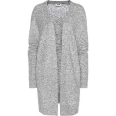 Acne Studios Raya Wool and Mohair-Blend Cardigan ($440) ❤ liked on Polyvore featuring tops, cardigans, grey, gray cardigan, wool tops, gray top, wool cardigan and gray wool cardigan