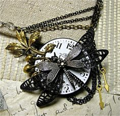 Steampunk Dragonfly Necklace (featured in Insects and Angels Magazine!) available at: http://etsy.com/shop/fernstreetdesigns  $58