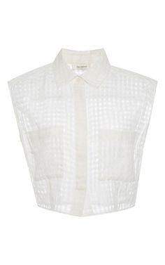 Sheer Plaid White Crop Top by Isa Arfen Now Available on Moda Operandi