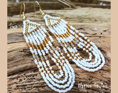 "3""Pow Wow Seed Bead Earrings~Native Glass Beaded White Gold Loop Earrings~Tribal Inspired~Native American Style Bead Work~Bohemian Long Bead"