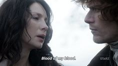 Jamie and Claire repeating their private wedding vows on the cusp of her leaving.