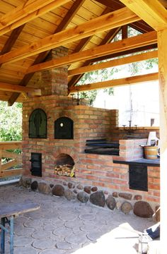 Outdoor Kitchen Patio, Outdoor Oven, Outdoor Kitchen Design, Backyard Barbeque, Fire Pit Backyard, Backyard Patio, Outdoor Fireplace Designs, Backyard Fireplace, Outdoor Stone