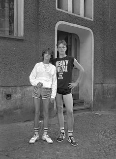 Two students in the eighth grade, 1986.