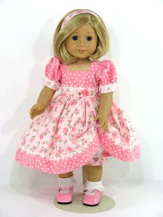 American Girl Handmade Doll Dress Pink Floral Dot - Exclusively Linda Doll Clothes