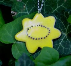 enameled sunflower necklace by kristybrabydesign on Etsy, $72.00