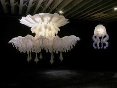 Melbourne-born artist Timothy Horn's large-scale jellyfish chandeliers were inspired by the illustrations of the century German zoologist, Ernst Haeckel. His creations (Stheno, Euryale, and Medusa) are made of silicone rubber and fiber optics.